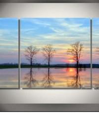 アートパネル 『水辺の夕暮れ』 30x50cm他、計3枚組