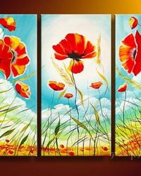 アートパネル 『青空と花々』 30x80cm、3枚組