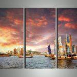 アートパネル 『帆船』 30x80cm、3枚組