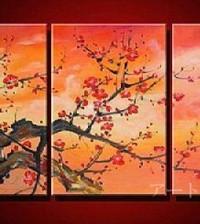 アートパネル 『紅梅』 40x60cm、3枚組