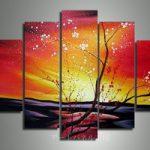 アートパネル 『桜の赤と白い花びら』 合計5枚組
