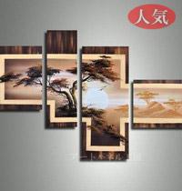 アートパネル 『大木と朝日』 40x40cm他、計4枚組