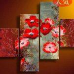 アートパネル 『紅い花びらⅡ』 40x40cm、2枚他、4枚組