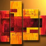 アートパネル 『赤とオレンジ』 30x60cm、1枚他、計4枚組