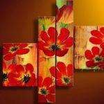 アートパネル 『紅い花びら』 合計4枚組