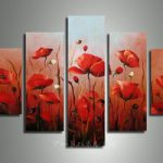 アートパネル 『赤い花Ⅱ』 30x60cm、2枚他、計5枚組