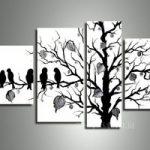 アートパネル 『枝木と小鳥』 合計4枚組