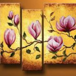 アートパネル 『ピンクの花びらⅢ』 25x60cm他、計5枚組