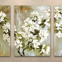 アートパネル 『ホワイト・フローラル』 40x60cm x 3枚組