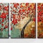 アートパネル 『赤い花の咲く木』 40x60cm x 3枚組