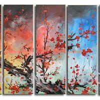 アートパネル 『赤い梅』 30x90cm x 5枚組