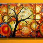 アートパネル 『花火と踊る木』 40x60cm x 3枚組