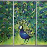 アートパネル 『孔雀』 30x60cm x 3枚組