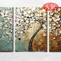 アートパネル 『抽象的な白い木と花』 40x60cm x 3枚組