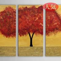アートパネル 『赤茶色の葉の茂る木』 30x60cm x 3枚組