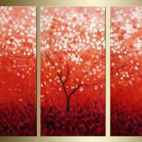 アートパネル 『枝のある赤い世界』 30x60cm x 3枚組