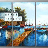 アートパネル 『桟橋のある水辺』 30x60cm x 3枚組