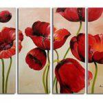 アートパネル 『赤い花びらⅣ』 30x80cm x 4枚組