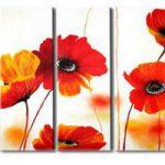 アートパネル 『赤い花びら』 30x80cm x 5枚組