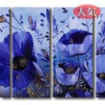 アートパネル 『青い花びらⅡ』 30x80cm x 4枚組