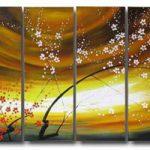 アートパネル 『紅白梅』 30x80cm x 4枚組