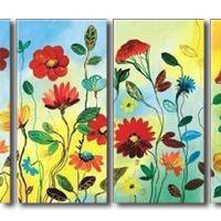 アートパネル 『色彩豊かな花々』 30x60cm x 4枚組