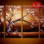 アートパネル 『白桜』 25x60cm x 4枚組
