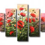 アートパネル 『赤いポピーの花』 5枚組
