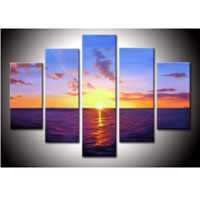 アートパネル 『水平線と太陽』 30x50cm他、計5枚組