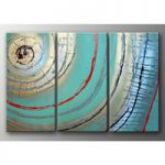 アートパネル 『水色の円』 30x60cm、3枚組