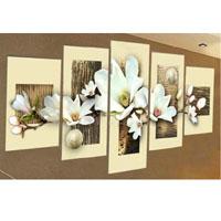 アートパネル 『白い花びらⅧ』 25x40cm、2枚他、計5枚組