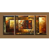 アートパネル 『オレンジ色の花』 25x50cm 3枚組