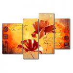 アートパネル 『赤い花びらⅢ』 30x80cm、2枚他、計4枚組