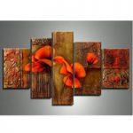アートパネル 『赤い花と模様』 40x60cm他、計5枚組