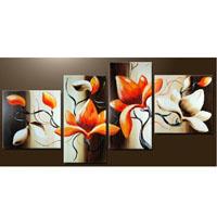 アートパネル 『白と橙の花びら』 4枚組