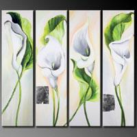 アートパネル 『白いユリの花Ⅱ』 30x90cm、4枚組