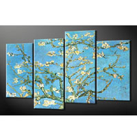 アートパネル ゴッホ『花咲くアーモンドの枝』 20x55cm x 2枚他、4枚組 模写