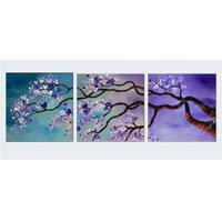 アートパネル 『紫の梅の花』 50x50cm x 3枚組