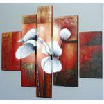 アートパネル 『白い花びらⅥ』 30x80cm他、計5枚組