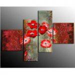 アートパネル 『紅芥子』 40x40cm x 2枚組ほか、計4枚組