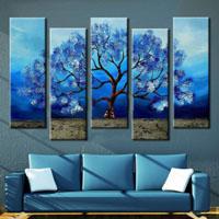 アートパネル 『青い葉のある世界』 25x75cm x 5枚組