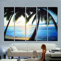 アートパネル 『南国のビーチ』 25x75cm x 5枚組
