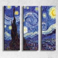 アートパネル ゴッホ『星月夜Ⅱ』 3枚組 模写