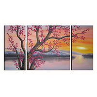 アートパネル 『梅と夕焼け』 30x60cm他、計3枚組