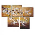 アートパネル 『桜の白い花』 30x40cm、5枚組