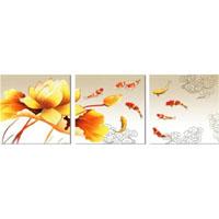 アートパネル 『蓮華と鯉』 40x40cm x 3枚組