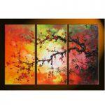 アートパネル 『梅の樹と赤い花』 30x80cm、3枚組