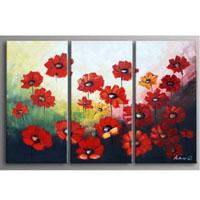 アートパネル 『赤いけしの花』 30x60cm x 3枚組