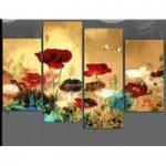 アートパネル 『芥子の花々』 30x60cm x 2枚他、計4枚組