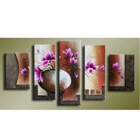 アートパネル 『花瓶の桃色の花』 25x40cm他、計5枚組